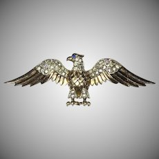 World War II Patriotic Vermeil Sterling Eagle with rhinestones Brooch Trifari Company designer Alfred Philippe 1940's
