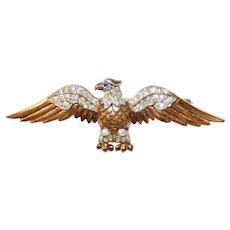 World War II Patriotic Vermeil Sterling Eagle with rhinestones Brooch Trifari Company designer Alfred Philippe 1940's
