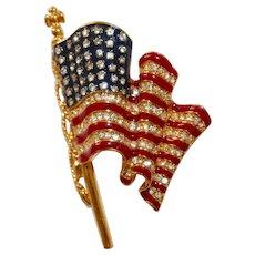 Trifari – Patriotic U.S. waving flag enamel and rhinestone brooch Beautiful!