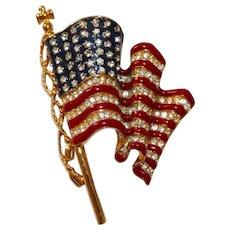 Trifari – Patriotic U.S. waving flag enamel and rhinestone brooch - Beautiful!