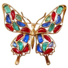 Trifari - Modern Mosaics series - Ruby, Emerald & Sapphire colored poured translucent glass Butterfly Brooch designer Alfred Philippe 1966