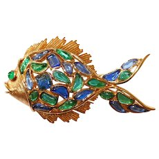 Trifari - Modern Mosaics series - Emerald & Sapphire colored poured translucent glass Fish Brooch designer Alfred Philippe 1966