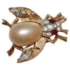 Vintage Crown Trifari Fantasia Series Line - Mother of Pearl Belly Fly Brooch Pin Trifari Company 1957