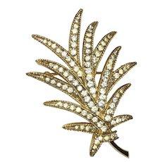 Vintage Sparkly gold plated Palm Leaf brooch Crown Trifari white crystal rhinestones – Trifari Company  1963