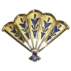 Beautiful enamel Tulip Fan Brooch L'Orient series Trifari Company 1968