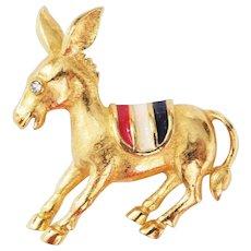 Vintage Patriotic Donkey Brooch Democrat Red White & Blue saddle Trifari Company 1970's