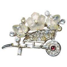 Small size Wheelbarrow brooch with moonstone flowers Fruit Salad cabochons - Trifari Company designer Alfred Philippe 1949