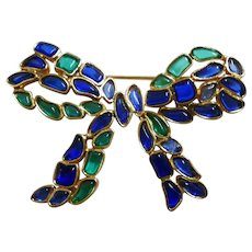 Modern Mosaics series - Emerald & Sapphire colored poured translucent glass Bow brooch Marvella division of Trifari 1966