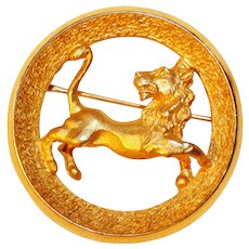 Zodiac Birthday brooch – Leo The Lion - July 23 Leo Aug 22 Astrology Jewelry Trifari Company 1969