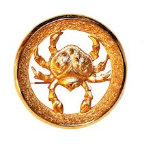 Zodiac Birthday brooch – Cancer The Crab - June 21 Cancer July 22 Astrology Jewelry Trifari Company 1969