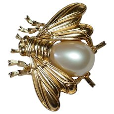 Vintage Mother of Pearl Belly Bumblebee Brooch Trifari Company 1980s