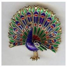 Multi-colored enamel Peacock brooch pin – Trifari 1960's