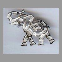 Silver toned signed Trifari Elephant brooch, GOP