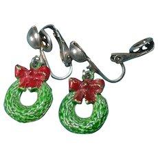 Holiday Christmas wreath earring set
