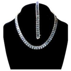 Vintage Aquamarine Rhinestone Demi Parure Necklace And Bracelet Set