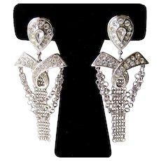 Vintage Whiting & Davis Dangling Mesh Chains Rhinestone Earrings