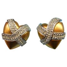 Vintage Gold Tone And Silver Tone Heart Earrings