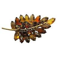 Vintage Leaf Brooch With Orange,Yellow, Light And Dark Topaz Rhinestones
