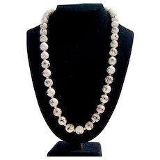 Vintage White Cloisonne Bead Necklace