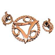 Vintage Copper Brooch And Earrings Set