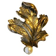 Vintage Napier Sterling Brooch With Faux Pearl Pin