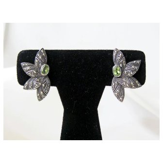 Vintage Sterling Silver Peridot Marcasites Earrings