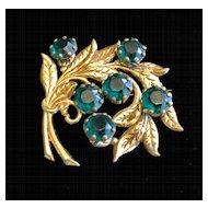 Vintage Brass Metal And Green Rhinestone Brooch Pin