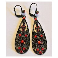 Vintage Red Rhinestones Earrings