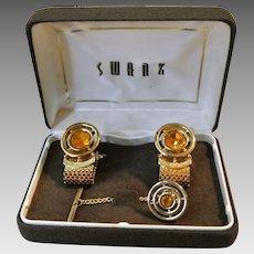 Vintage Swank Topaz Rhinestone Cufflinks And Tie Tac Set In Original Box