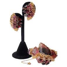 Vintage Amethyst Glass Rhinestones Filigree Bracelet And Earring Set Parure