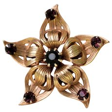 Vintage Amethyst Rhinestones And Gold Tone Star Brooch Pin