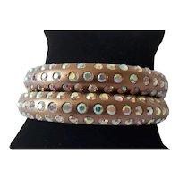 Vintage Aurora Borealis Rhinestone Bangle Bracelets (set of 2)