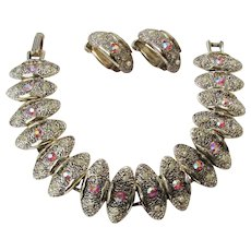 Vintage Judy Lee Demi Parure Bracelet And Earring Set