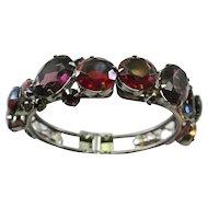 Vintage Red, Purple, Pink And Blue Givre Rhinestone Clamper Bracelet