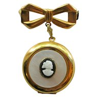 Vintage Mother Of Pearl Cameo Locket Brooch/Pin