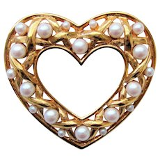 Vintage Monet Heart And Faux Pearls Brooch Pin