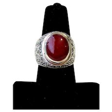 Vintage Carnelian Sterling Silver Marcasites Cigar Band Ring