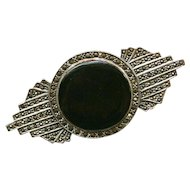 Vintage Art Deco Design, Sterling Silver, Black Onyx And Marcasites Brooch/Pin