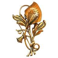 Vintage Copper Calla Lilly Brooch/Pin