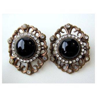Vintage Black Glass Rhinestones Brass Pierced Earrings