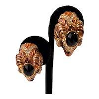 Vintage Gem Craft Ram's Head Enamel Rhinestones Clip-On Earrings