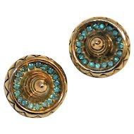 Vintage Sterling Sombreros Hat Rhinestones Earrings