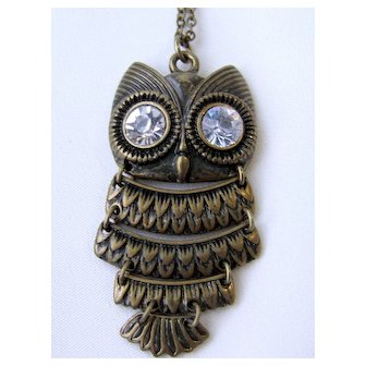 Vintage Articulated Owl Necklace