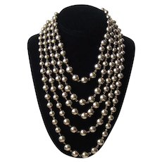 Vintage Five Strand Silver Tone Ball Necklace