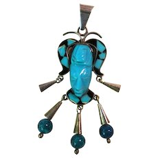 Vintage Sterling Silver Turquoise Face Pendant
