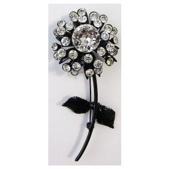 Vintage Japanned Rhinestone Flower Brooch Pin