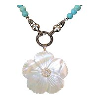 Vintage Turquoise, Sterling Silver, Mother Of Pearl, Marcasite Necklace