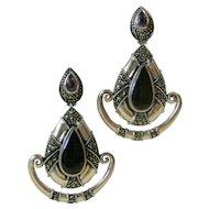 Vintage Sterling Silver, Amethyst, Black Onyx And Marcasites Pierced Earrings