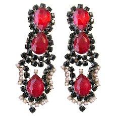 Vintage Czech Rhinestones And Faux Pearls Pierced Earrings