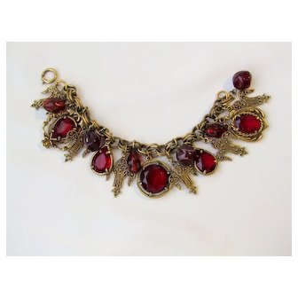 Vintage Red And Gold tone Charm Bracel